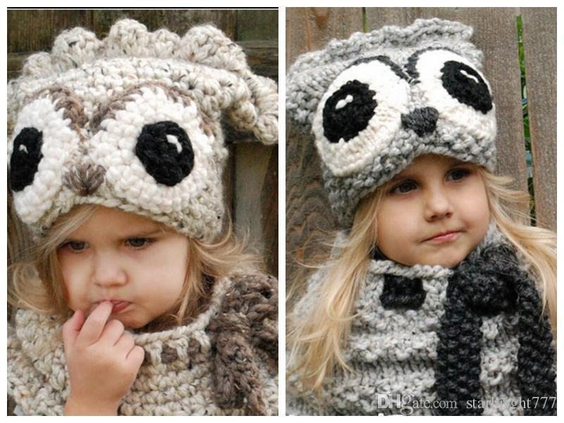 042be36e29d 2019 Winter Kids Warm Owl Animal Hat Knitted Hood Scarf Beanies For Autumn  Winter Lovely Infant Toddler Girl Boy Beanie Warm Cap From Starbright777