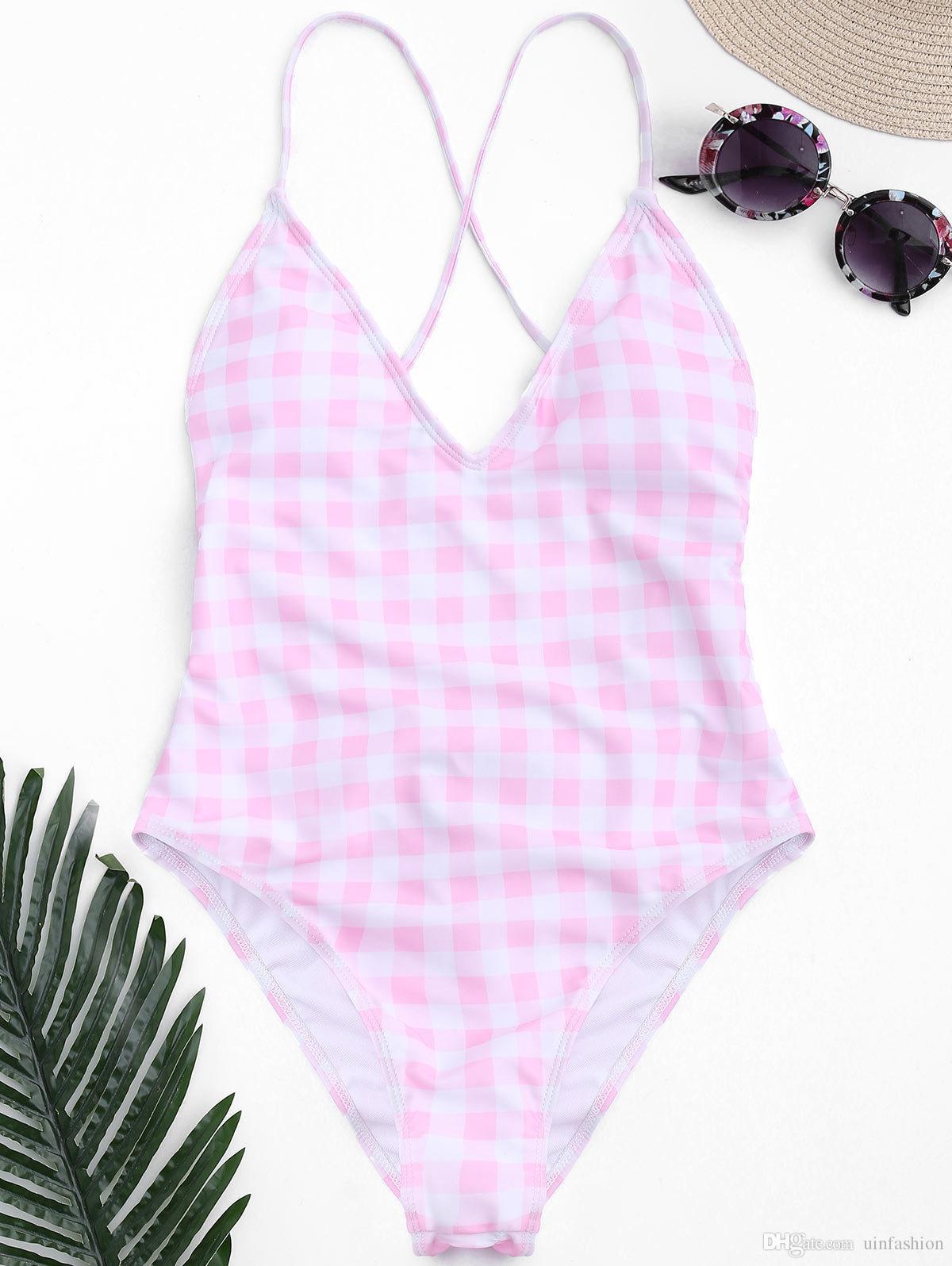 Sexy Women Bikini One Piece Swimsuit Summer Swimwear Grid Blue Pink Beachwear Hot Push Up Padded Bathing Suits Thong Monokini
