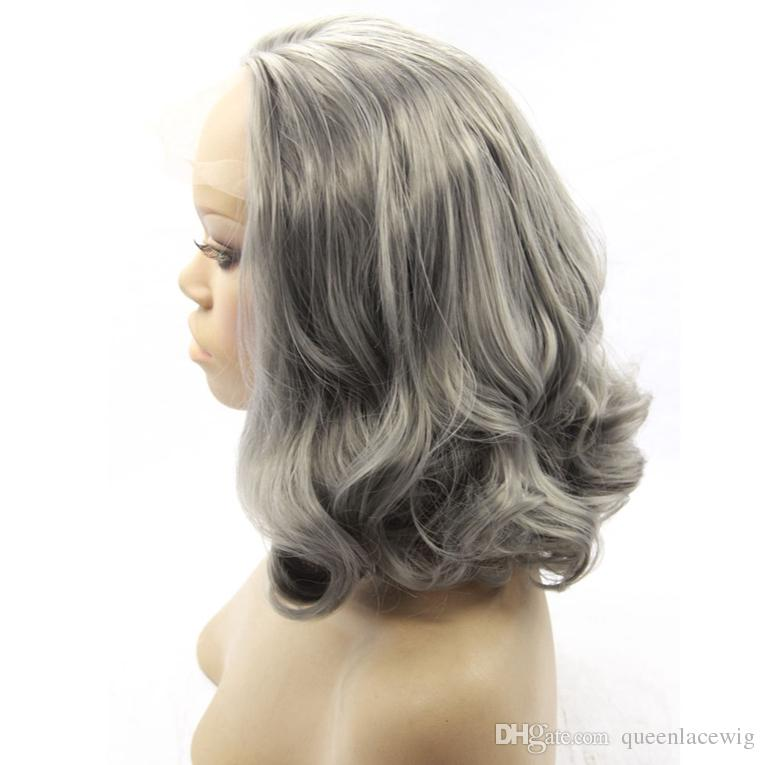 Short Bob Grey Synthetic Lace Front Wig Heat Resistant Fiber Silver Body Wave Wig High Quality Gray Glueless Natural Synthetic Hair Wigs