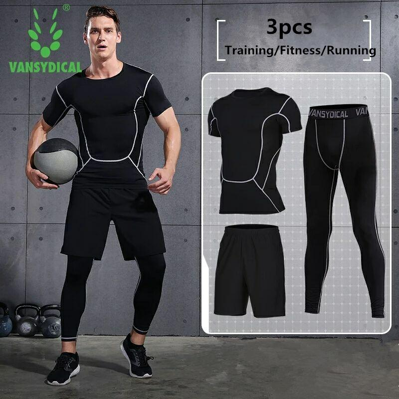 Reliable Quick Dry Men 3pcs Compression Running Suits Soccer Basketball Leggings Tights Suits Fitness Yoga Joggers T Shirt Tights Sets Sports & Entertainment