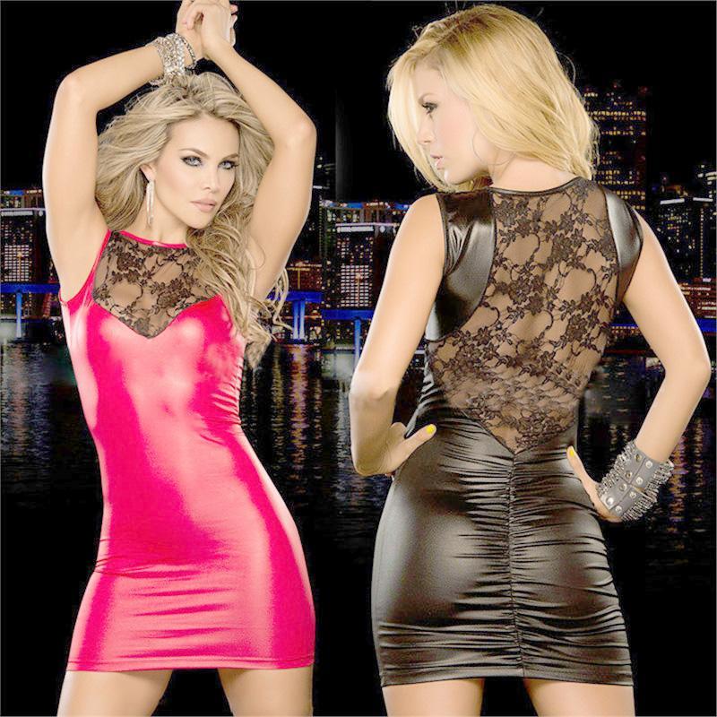 Plus Size Casual Dresses Lace Dress Women Dresses Slim Wet Look