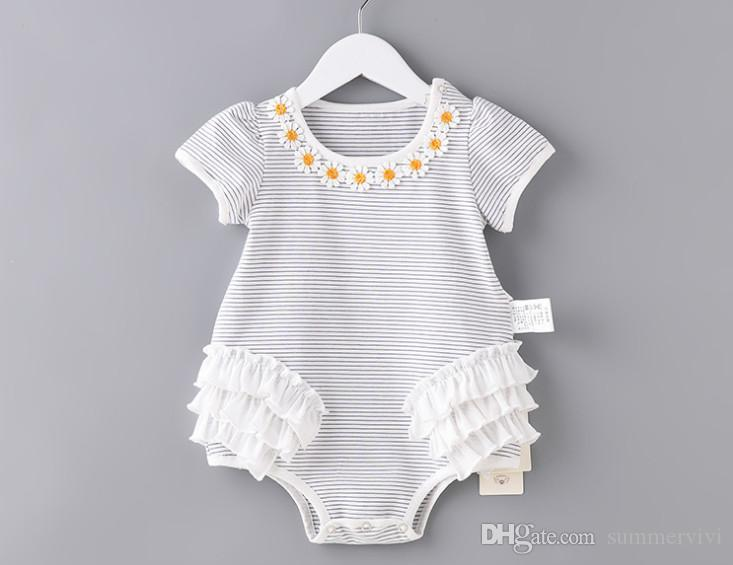 c3ba8a41e 2019 Summer Baby Kids Stripe Romper Girls Lace Flowers Embroidery ...