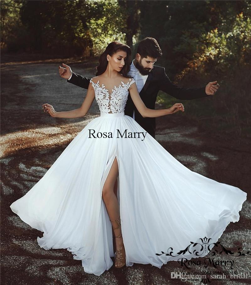 Discount 2018 Plus Size Country Beach Wedding Dresses A Line Vintage