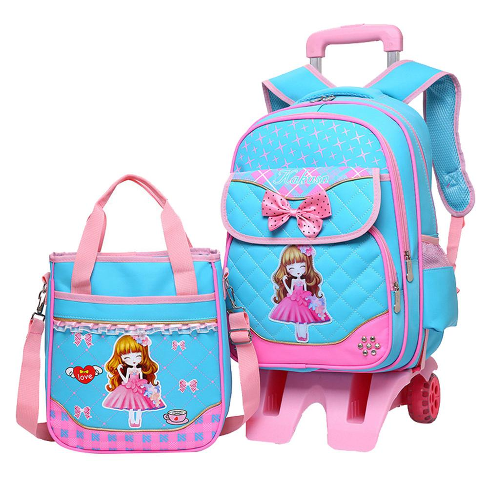 de23c3917f Hot Sale Trolley Backpack Girls Wheeled School Bag Children Travel Luggage  Suitcase On Wheels Kids Rolling Book Bag Bum Bags Hype Backpack From ...