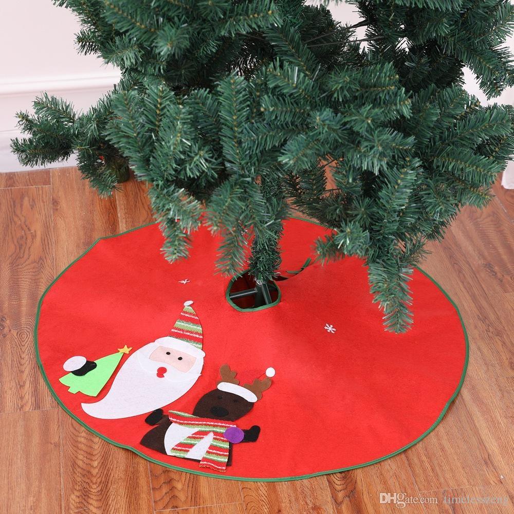 Christmas Tree Skirt Patterns Free.Christmas Tree Skirt Santa Claus Deer Pattern New Year Christmas Trees Decor Diameter 90cm Xmas Party Decoration Supplies Free Ship