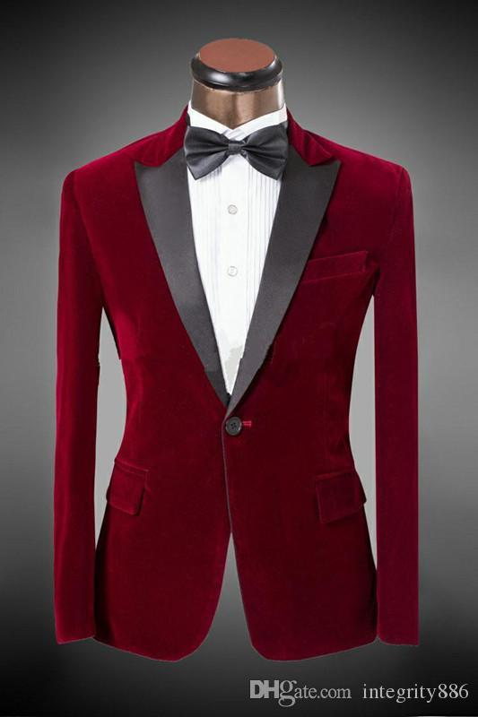 New Arrival Red Velvet Groom Tuxedos Peaked Lapel One Button Groomsmen Men Formal Suits Business Prom Suit Customize(Jacket+Pants+Tie)NO:69