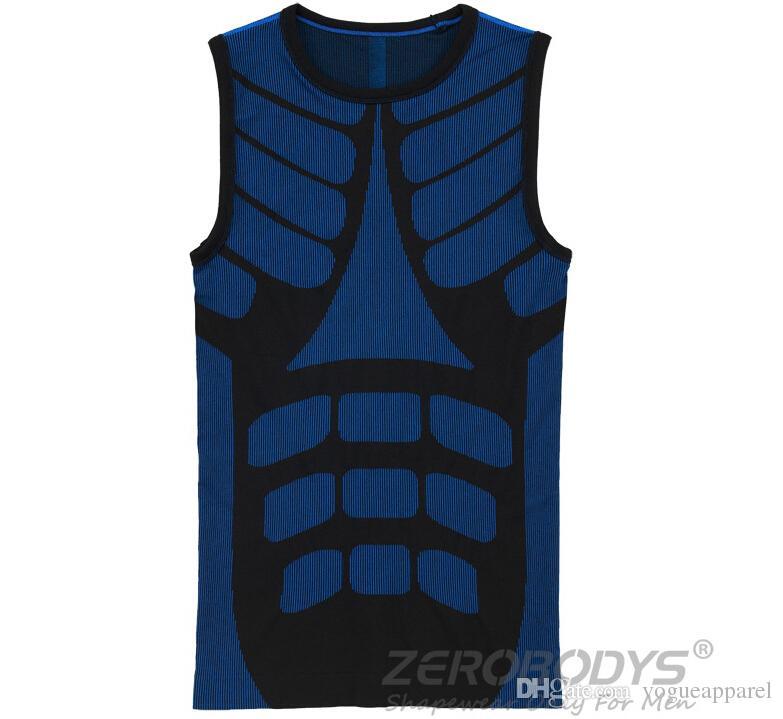 Body Shaper O-Neck Vest Chaleco 3D Slim Doble colores Casual Corset Shapers Hombres ZEROBODYS M-2XL Rojo Azul Verde Tops