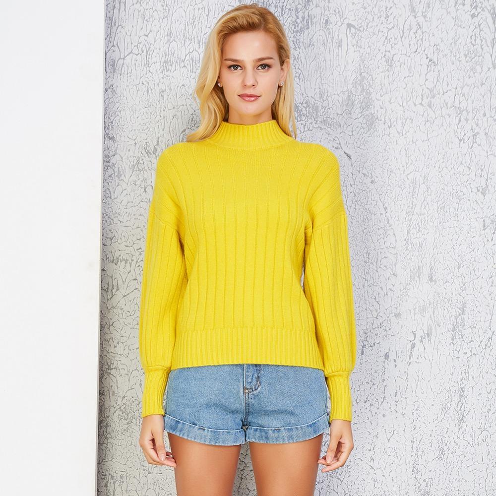 FATIKA Invierno Nueva Moda Mujeres Suéteres Y Jerseys Cuello Alto Suéteres de punto Sueltos Casual Knit Jumpers 2018 Otoño