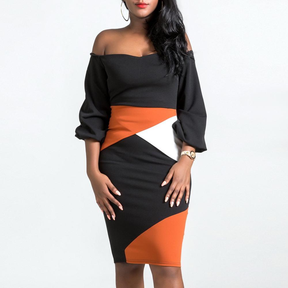Clocolor Vestido Lápiz 2018 Nuevo Otoño Invierno Mujer Slash Cuello Sin Espalda Vestido Sexy Color de Moda Bodycon Más Tamaño Vestido