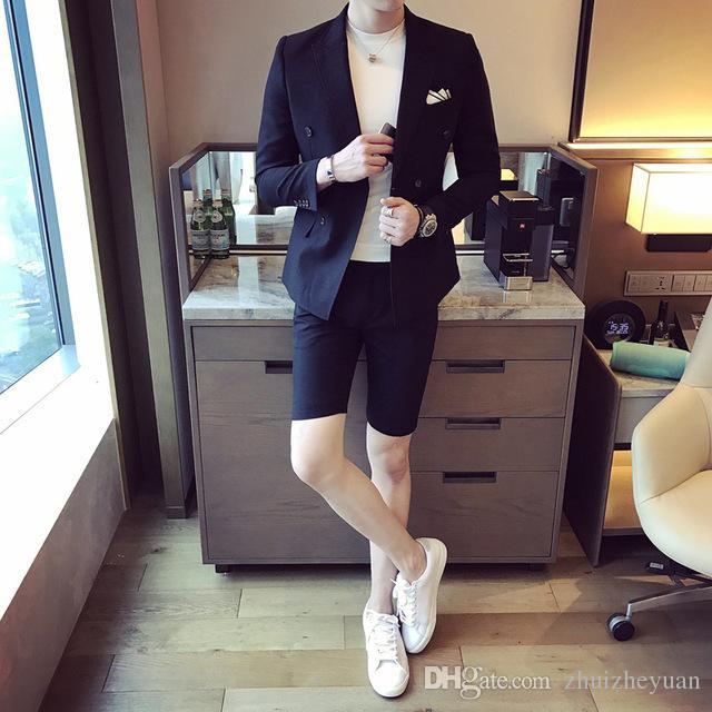 Лето Мужчины костюм с коротким штаны двубортного Slim Fit мужской партией Wear Дешевых Мужчины Свадебного Tuxedo куртка + жилет