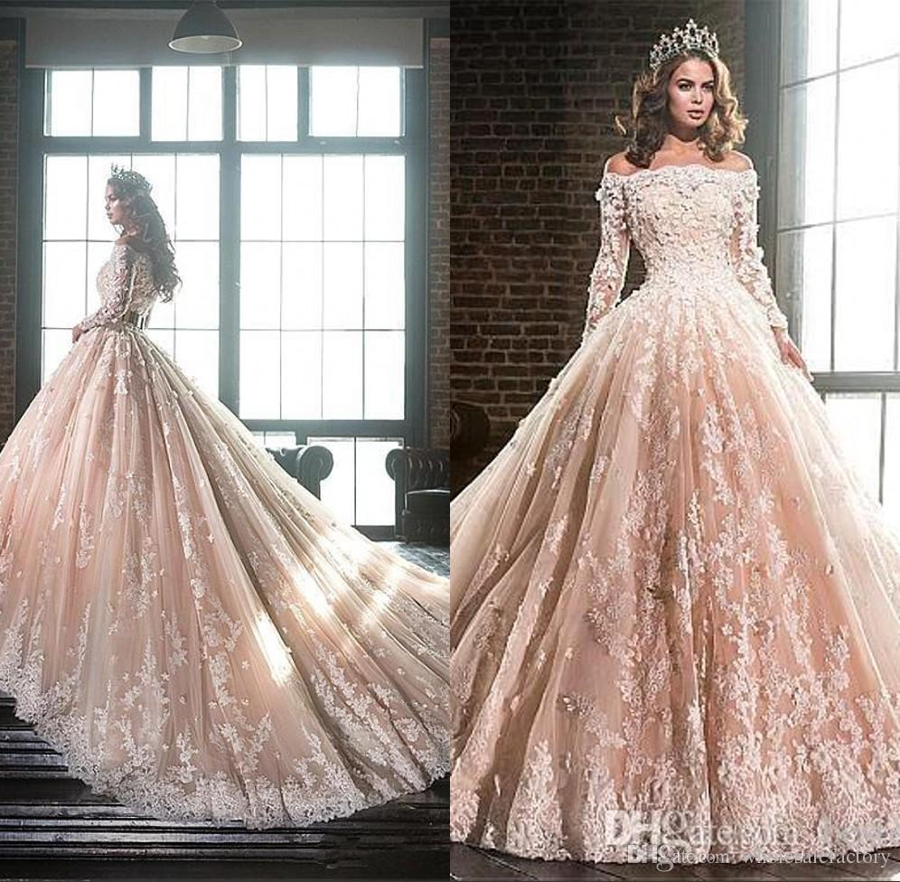 2018 Elegant Off The Shoulder Lace Ball Gown Wedding Dresses Long Sleeves  Tulle Applique 3D Floral Sweep Train Bridal Wedding Gowns BA9900 Wedding  Dress ... de27b7f63