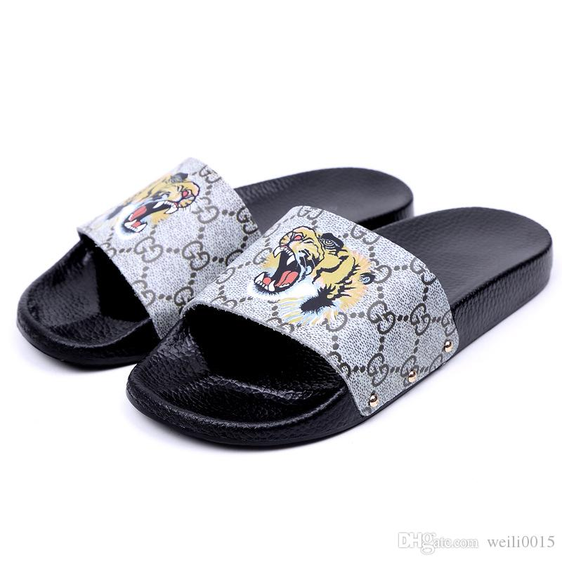 875962b13ff7 2018 Mens And Womens Fashion Animal Bee Tiger Printing Leather Slide Sandals  Male Female Beach Slippers Size Euro 35 40 Moccasins For Men Shoe Sale From  ...