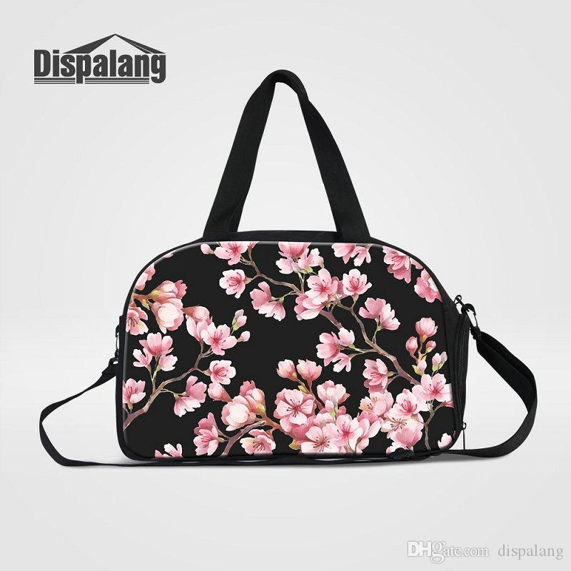 Women Travel Duffle Bags Carry On Luggage Fashion Cherry Blossoms Flower  Print Canvas Weekend Bags For Girls Duffel Ladies Traveling Handbag Hand  Bags ... 73c7fbade865c