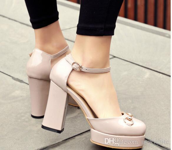 050d695ddcf 2018 Sexy High Heel Brand Sandals Ankle Strap Genuine Leather Platform  Sandals Chunky Heel Luxury Designer Summer New Shoe Bamboo Shoes High Heels  Shoes ...