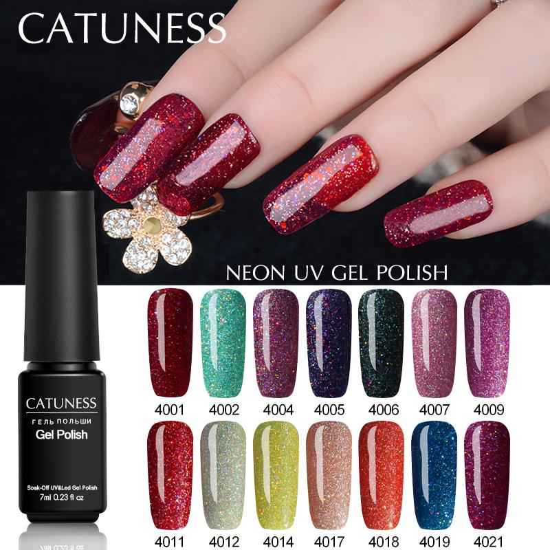 CATUNESSV Bling Neon Nail Gel Super UV Gel Nail Polish Colorful Art ...