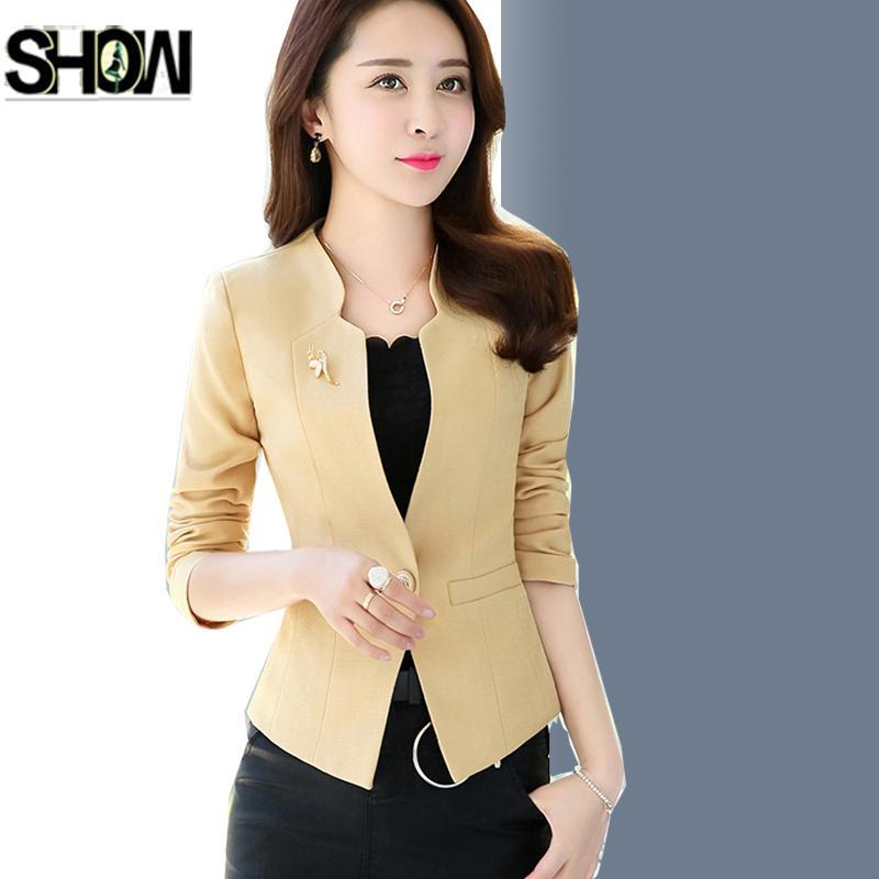 242b53080 Compre Trajes De Otoño Invierno Para Mujer Estilo Coreano De Moda Caliente  Slim Elegante Señora Office Blanco Rosa Negro De Un Botón Chaquetas Cortas  ...