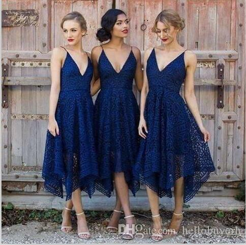 Lace V Neck Short Navy Blue Bridesmaid Dresses Sexy Straps African Nigerian Lace Dress
