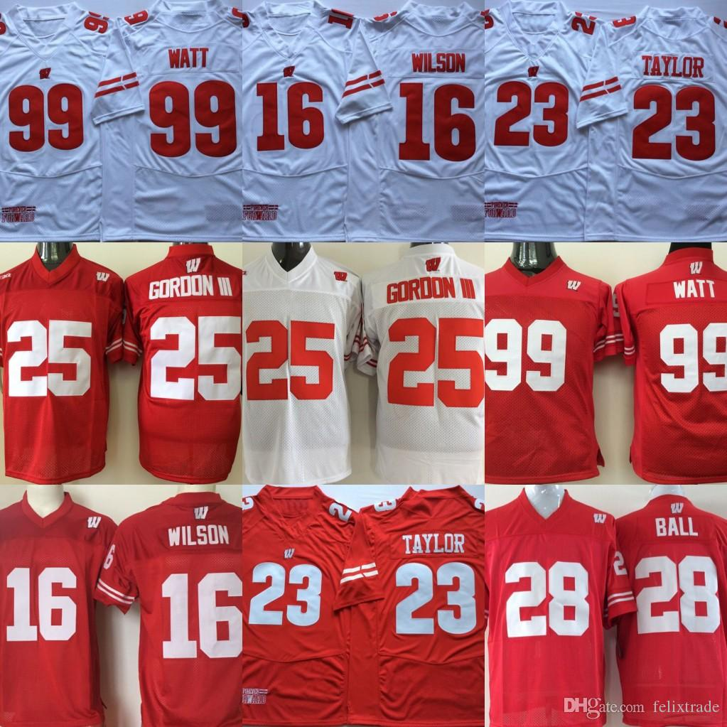 cheap for discount 34b03 f60e3 Wisconsin Badgers College Jerseys 23 Jonathan Taylor 16 Russell Wilson 99  JJ Watt Red White Stitched College Football Jerseys