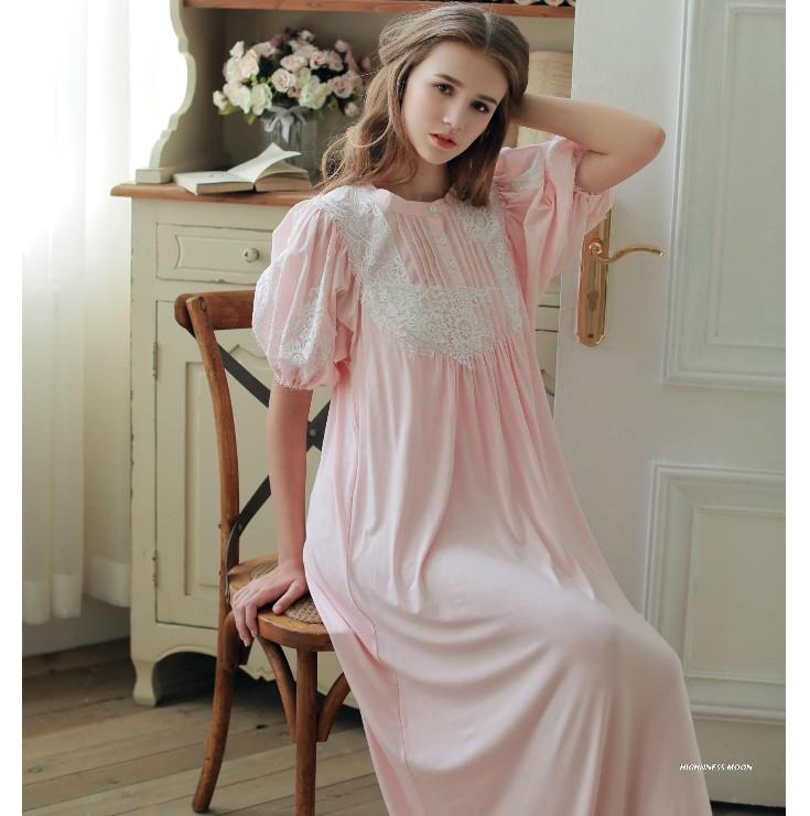 High Quality Royal Princess Puff Sleeve Lace Nightgowns Women's Soft Modal Cotton Long Nightdress Sleepwear Loose Pyjamas Robes