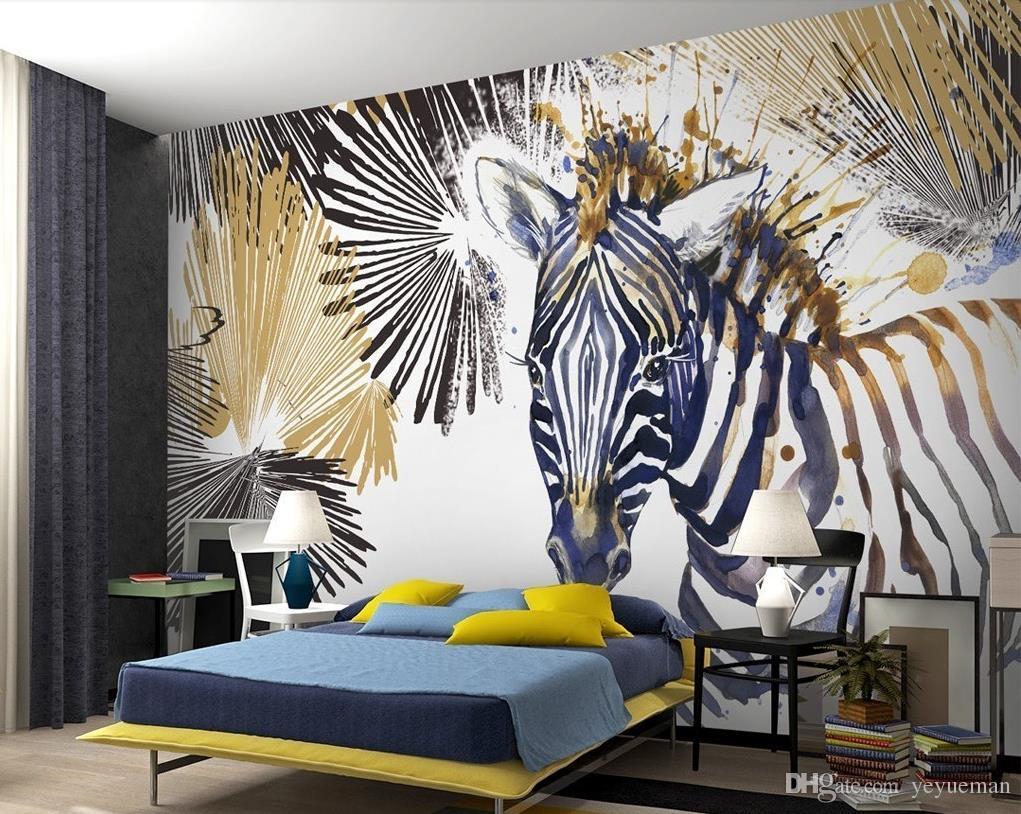 Großhandel Fototapete Benutzerdefinierte Wandbild Einfache Aquarell Zebra  Wandbild Tapete Büro Wohnzimmer Tv Dekoration Wand Schallschutz Tapete Von  ...
