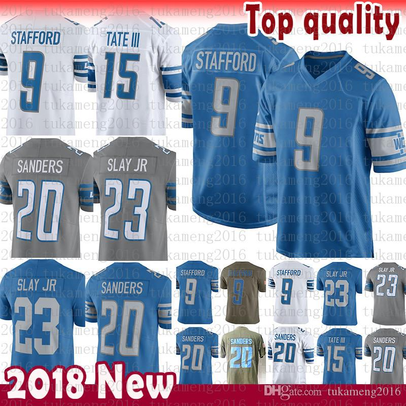 645aa43a Mens 9 Matthew Stafford Detroit Lions 20 Barry Sanders Jersey 15 Golden  Tate III 23 Darius Slay JR Jerseys adult Free shipping