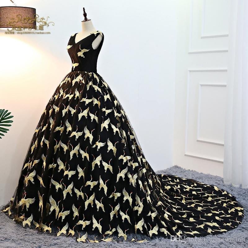 Black With Bird Embrodiery Masquerade Ball Gown Long Dress Medieval ...