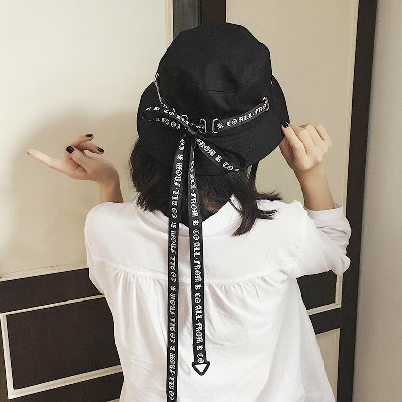 dd04780ff8c New 2018 Men Women Bucket Hats Japan And Korea Street Style Harajuku  Letters Print Streamers Lace Up Cap Ladies Summer Sun Hat Fedora Hats For  Women Hat ...