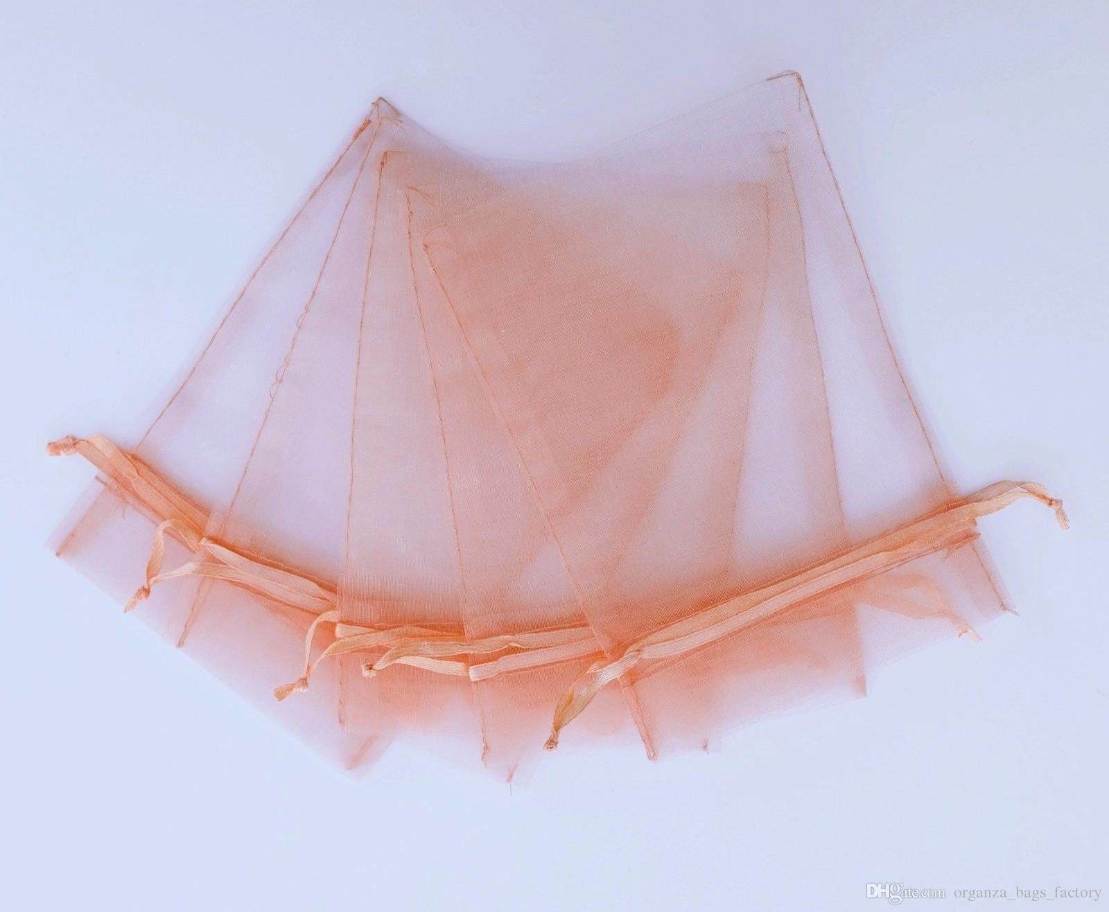 PEACH PINK Organza Favor Bags Wedding Jewelry Packaging Pouches ...