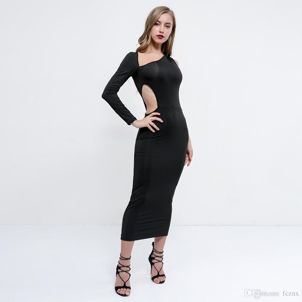 7d67525cb1dcee Großhandel 2018 Frauen Kleidung Langarm Eine Schulter Aushöhlen Solide  Bodycon Kleid Weibliche Sexy Club Party Mantel Midi Kleider D5378 Von  Fcznx
