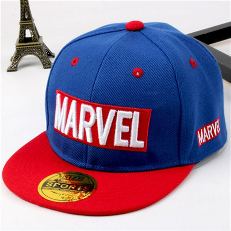 cbe539fcc78d1 2018 new Marvel children s hat MARVEL letters hip hop hat boys and girls flat  cap summer street dance baseball cap