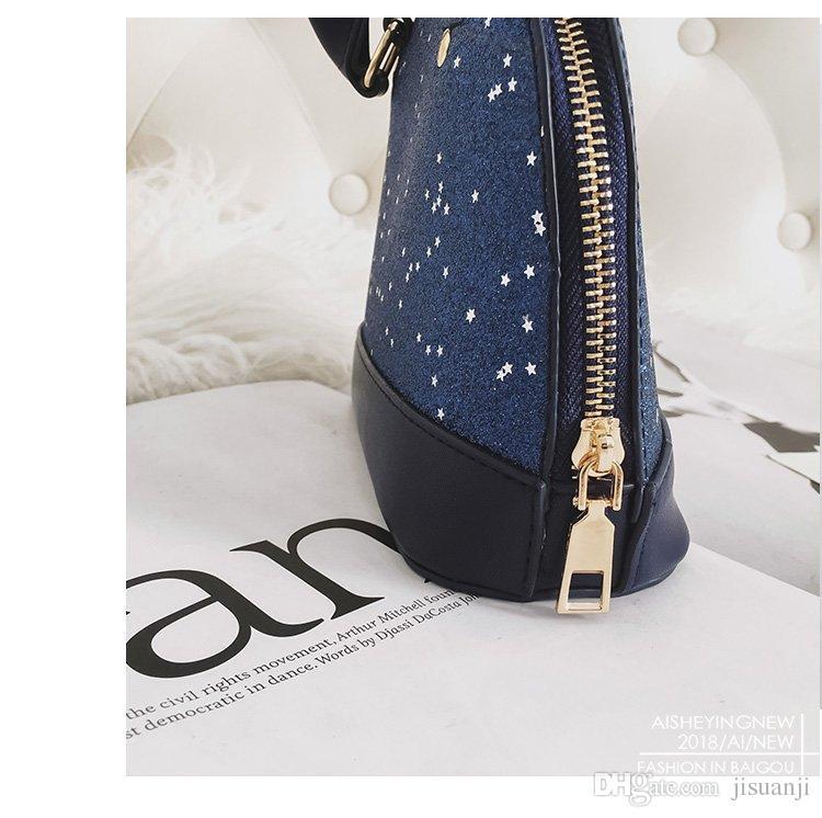 Starry Series Coaeh Luxury Designer Bag le donne Fashion PU Shell Handbags Borsa a tracolla nera Bling Bling blu