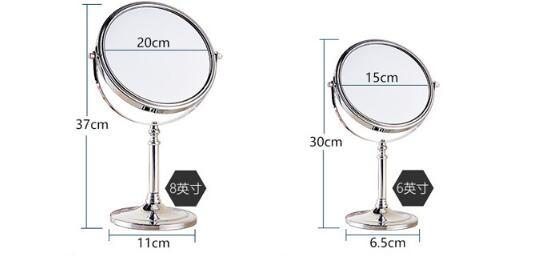 Europe Style Table Makeup Mirror Copper Framed Dressing 2-Faced Swivel Mirror with 3x Magnification 8 / 6 Inch Round Cosmetic Mirror