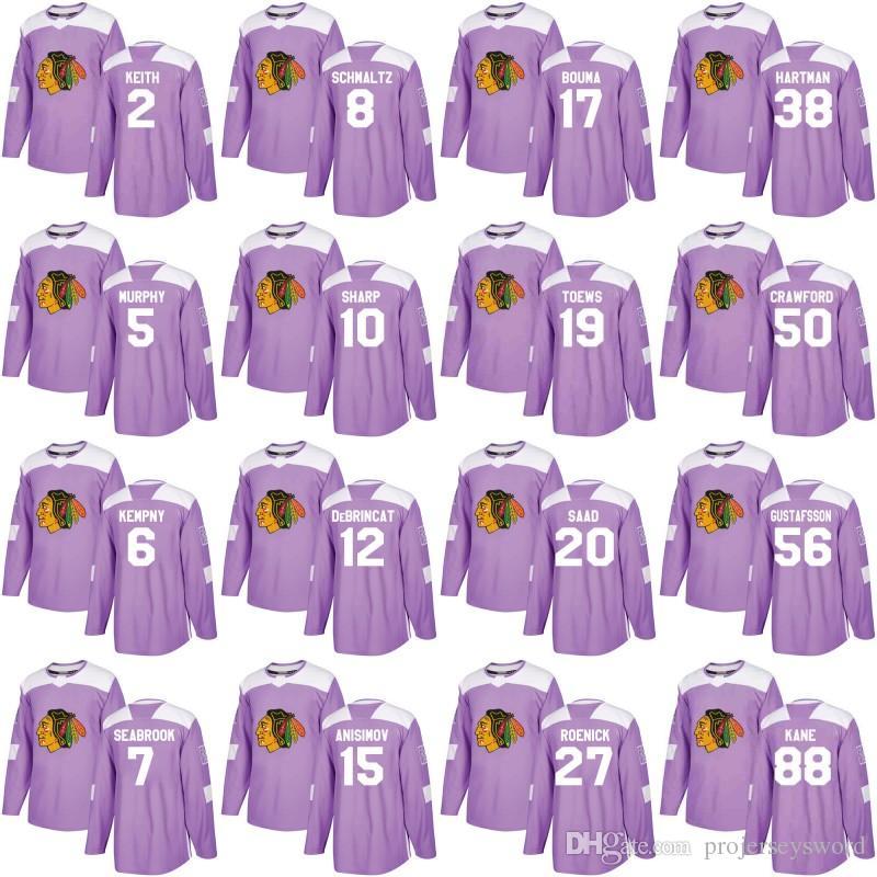 2b48fa693e7 2019 Chicago Blackhawks Jersey Purple Fights Cancer Practice 10 Patrick  Sharp 19 Jonathan Toews 50 Corey Crawford 88 Patrick Kane Hockey Jerseys  From ...