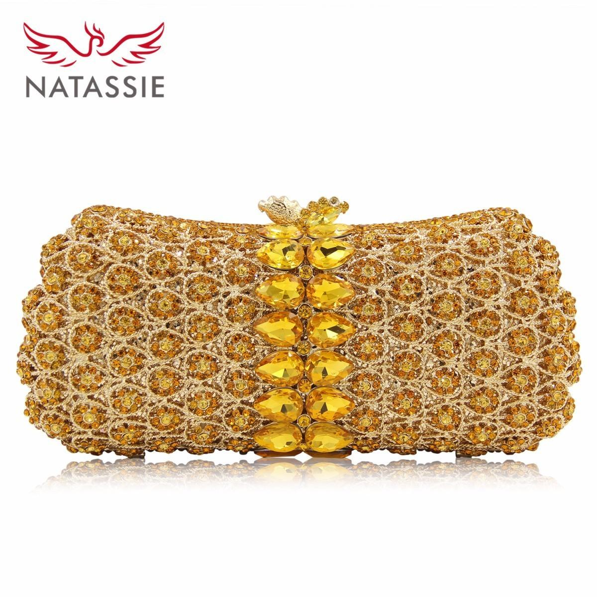 Natassie New Design Crystal Party Bags Gold