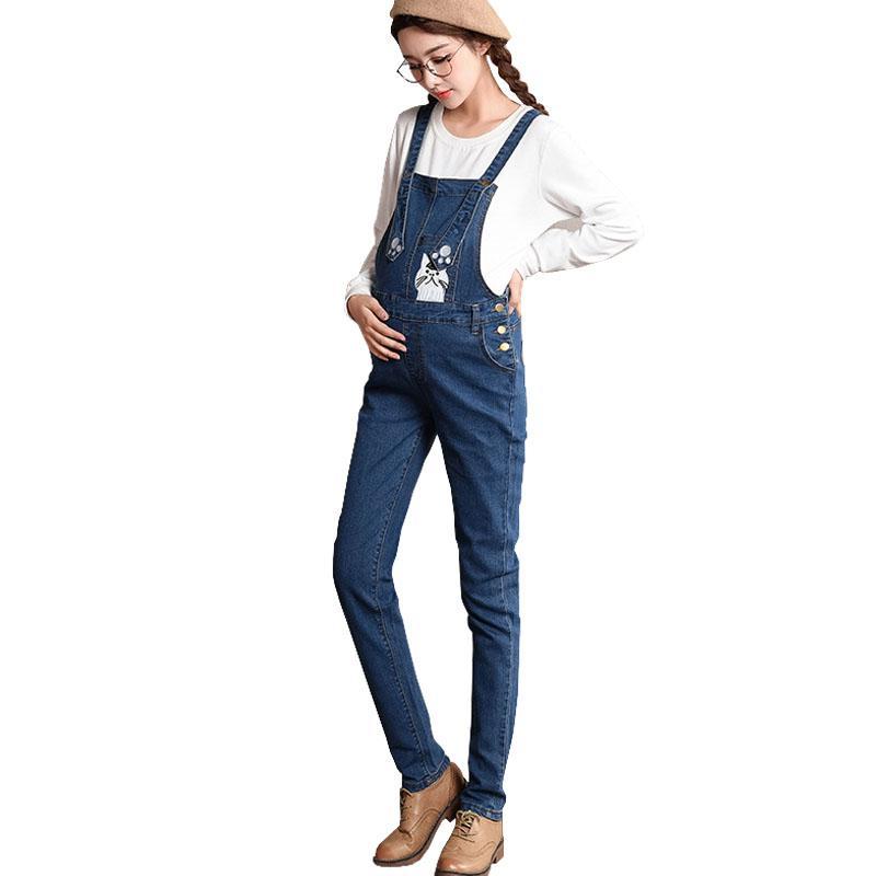 eee897b30 Compre Pantalones De Mezclilla Mono De Maternidad Correas Pantalones Vaqueros  Para Mujeres Embarazadas Estiramiento Embarazo Baberos Trabajo Llevar Ropa  ...