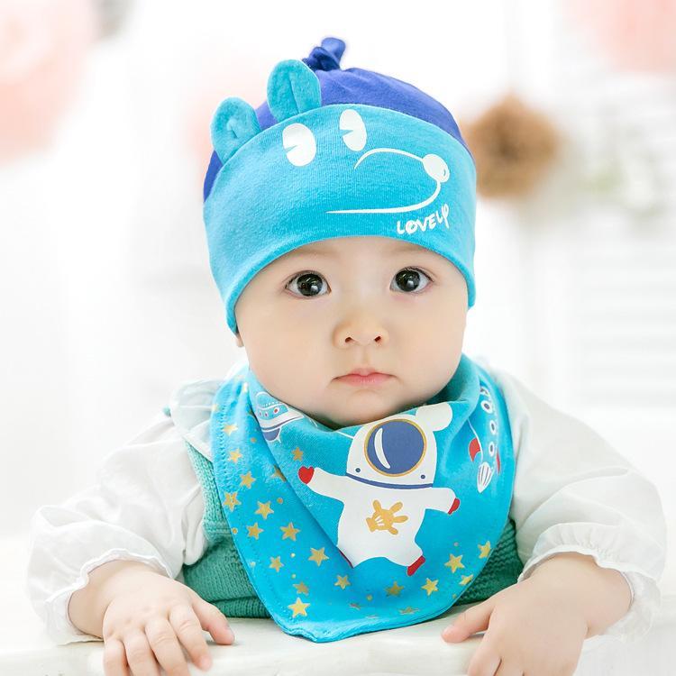 d20855cead3 2019 Fashion Kids Cartoon Cotton Cat Knitted Warm Hats And Feeding Bid Set  Children Cute Fashion Caps Beanies Hats Winter Baby Caps MZ021 From  Shinebebe