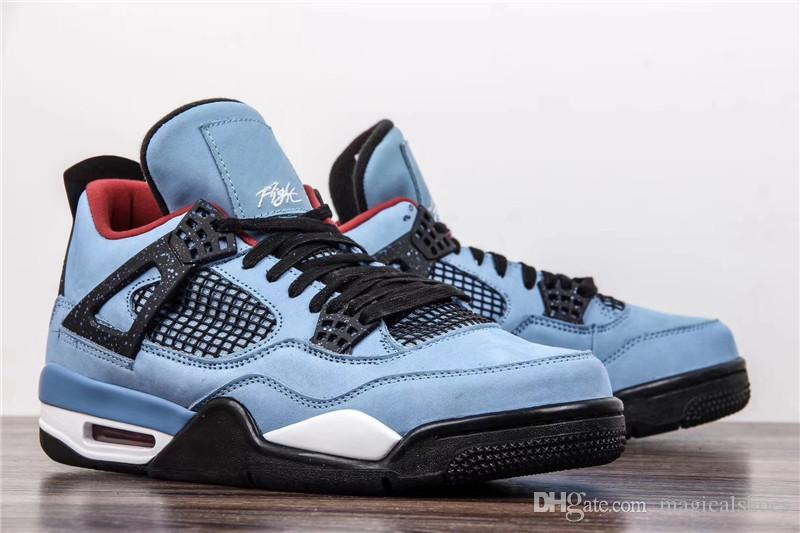 0a6a612ac35b Travis 2018 New Release 4 Houston 4S Cactus Jack IV Blue Basketball Shoes  Limited Sneakers Authentic Quality 308497 406 Mens Shoes Sneakers From ...