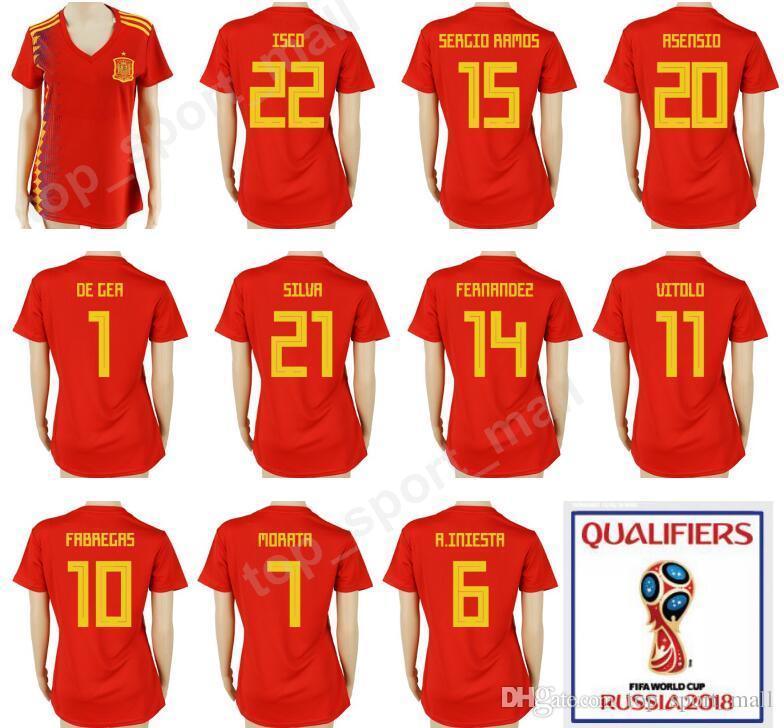 3620a9f0bc7 Women 2018 Spain World Cup Lady Soccer Jersey Camiseta De Futbol 22 ...