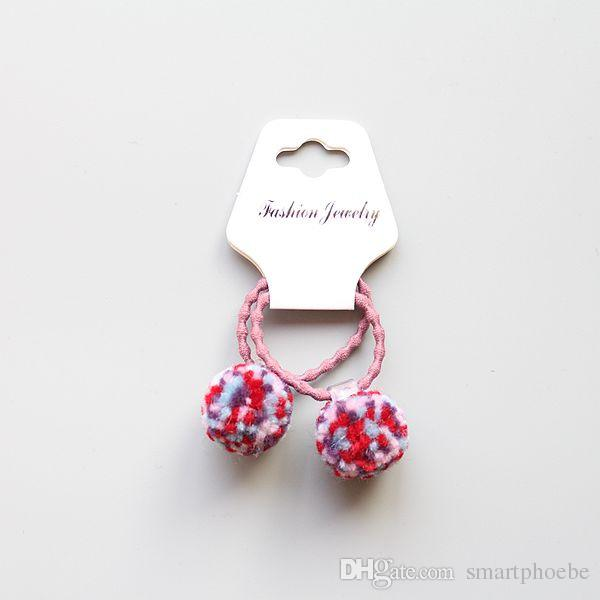 Wholesale Boutique Fashion Cute Candy Color Balls Pom Pom Hair Tie Solid Kawaii Elastic Hair Bands Rubber Gum Rope Headware