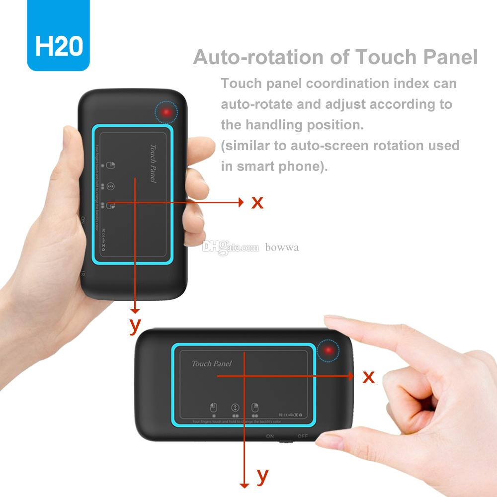 H20 Backlight Airmouse 2.4GHz Wireless Keyboard Handheld IR Learning Remote Control with touchpad for Smart TV TV Box PC