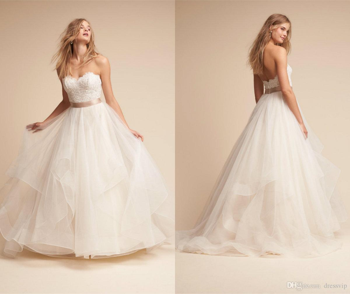 Discount Bhldn Wedding Dresses Sweetheart Tiered Tulle Lace