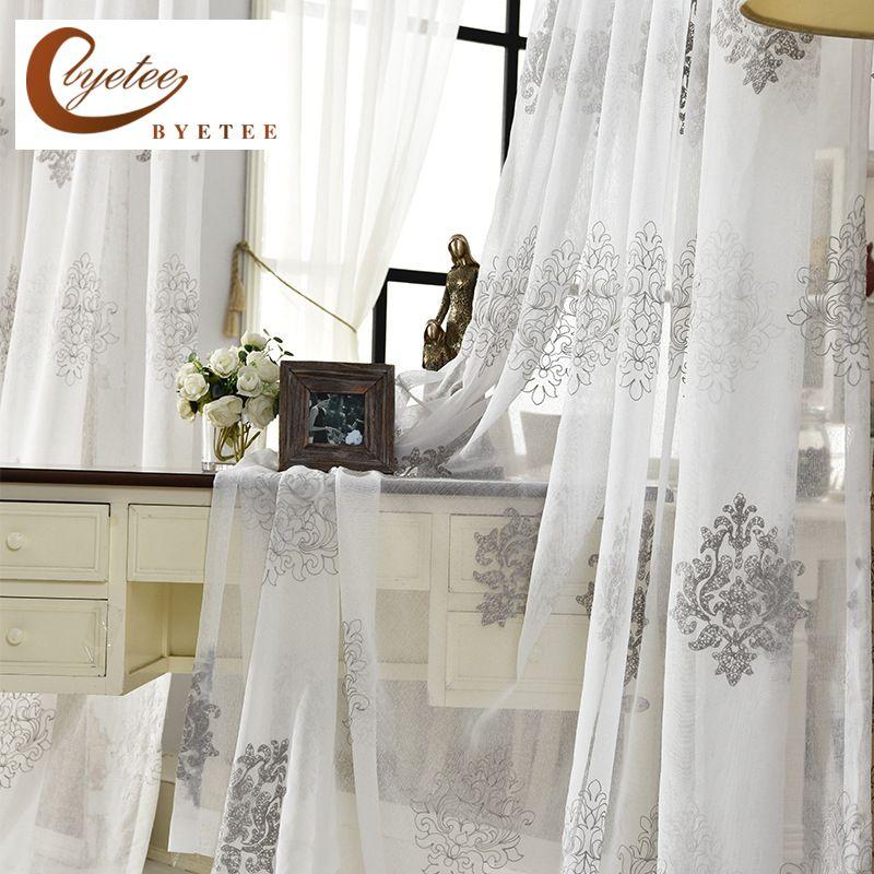 [Byetee] Hohe Qualität Leinen Bestickt Vorhang Schlafzimmer Fenster Tüll  Gaze Grau Voile Vorhänge Für Wohnzimmer Vorhang fertig