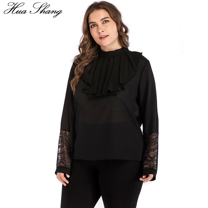 f31411374625a 2019 Plus Size Women Summer Chiffon Blouse Long Sleeve Lace Patchwork  Ruffles Turtleneck Casual Ladies Tops Black Tunic Chemise Femme From  Yesterlike