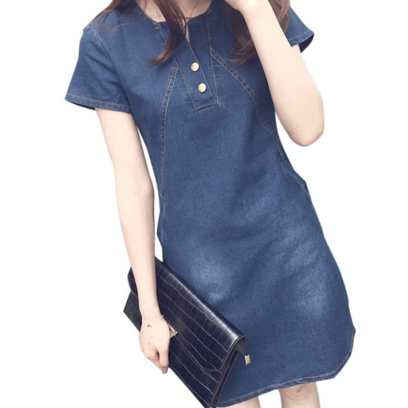 ec7071703d1 2019 Women Solid O Neck Short Sleeve Plus Size Denim Dress Vestidos Party  Dresses Slim Casual Office Denim Jeans Button Dress Robe From Blueberry07