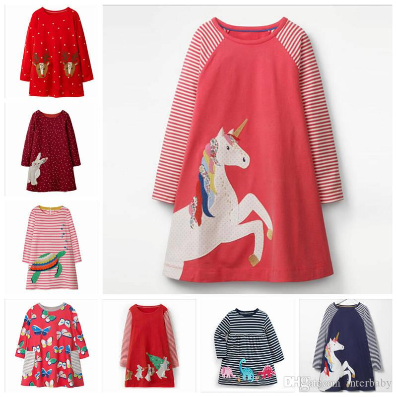 51c8a758719 2019 Christmas Girls Dresses Baby Unicorn Dress Animal Print T Shirt Infant  Striped Tops Toddler Long Sleeved Dress Kids Designer Clothes ZYL7 2 From  ...