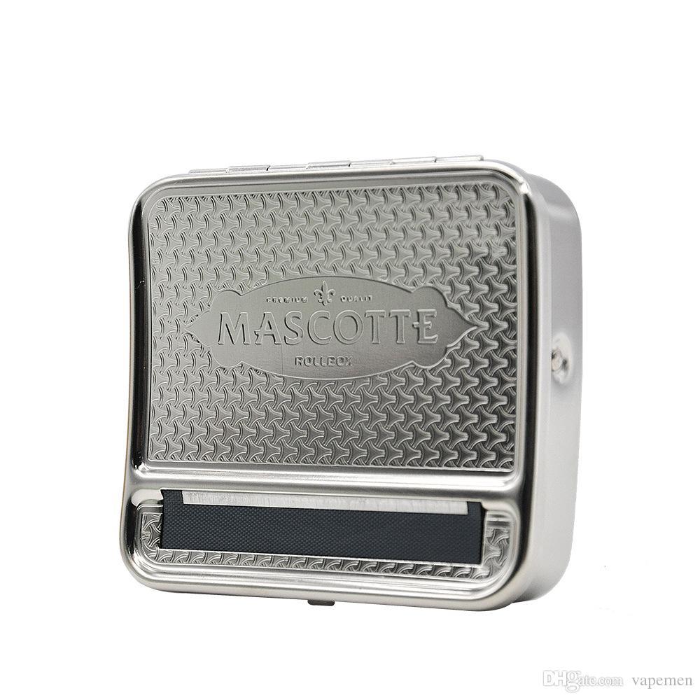 Nuovo design metallo sigaretta rullo macchina sigarette rotolamento scatola di sigarette 70mm * 80mm Shippin libero OEM LOGO