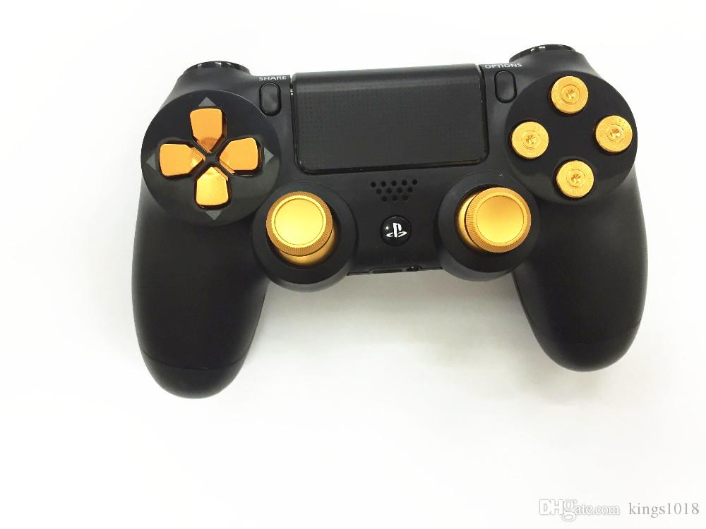 high quality Golden Metal Analog thumb sticks Arrow D-pad 9mm Bullet  Buttons Mod Kit For Sony Playstation PS4 Dualshock 4 Controller Gamepad