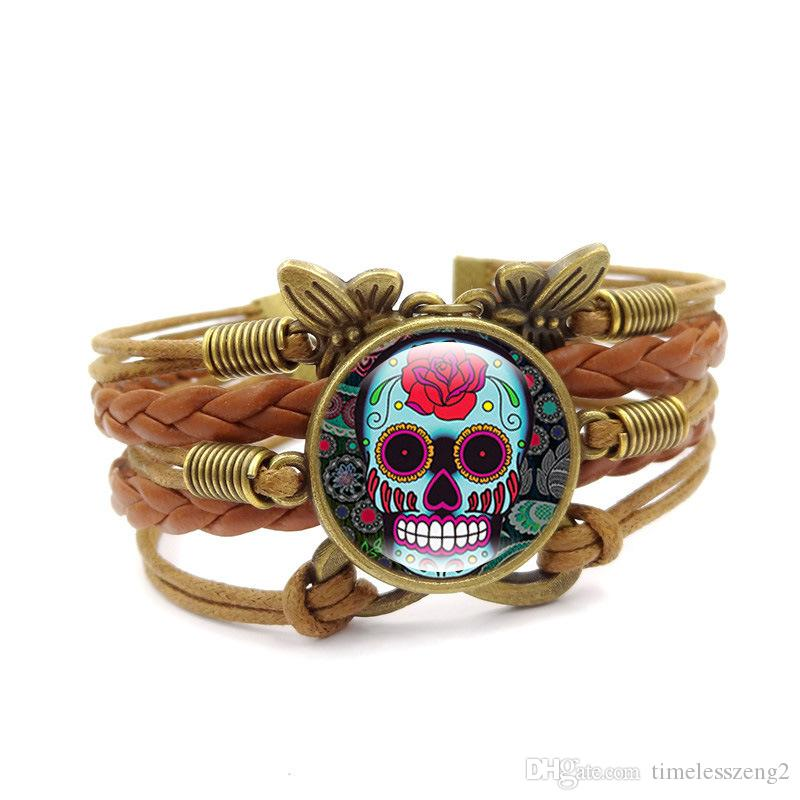 New Cool Skull Bracelet Hot Jewelry Set Fashion Vintage Time Gem Gem Bracciale in vetro donna Amore Regalo