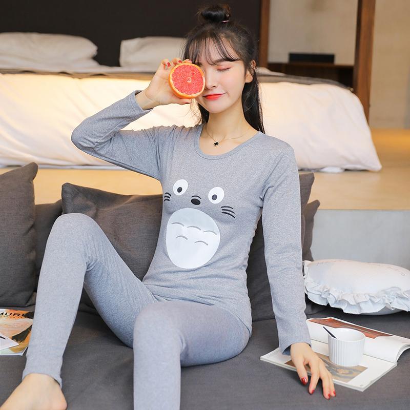 363329aaa3 2019 2018 Autumn Winter Cute Cartoon Fleece Thermal Underwear Set For Women  Long Sleeve Thick Warm Plus Velvet Johns Pajama Sleepwear From Mudanflower