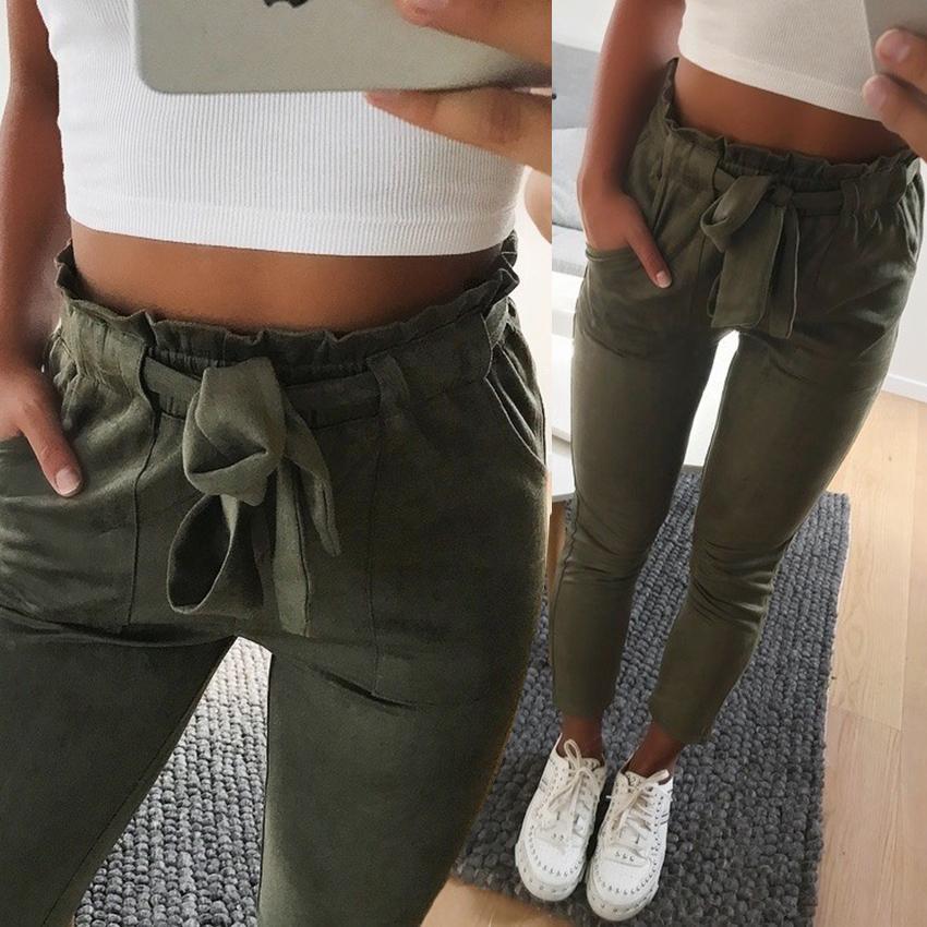 Acheter 2018 Mode Hiver Femmes Daim Pantalon Style Dames En Cuir Des Pantalons  Femme Pantalon Décontracté Crayon Pantalon Taille Haute Pantalon Y1891405  De ... 44efecbf281